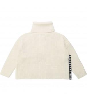 Pulover alb cu fermoar