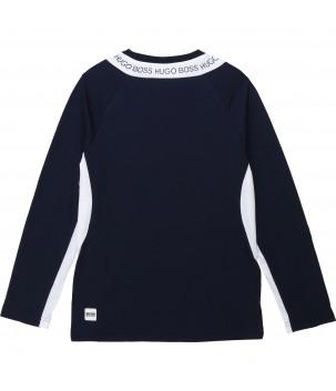 Tricou bleumarin cu alb